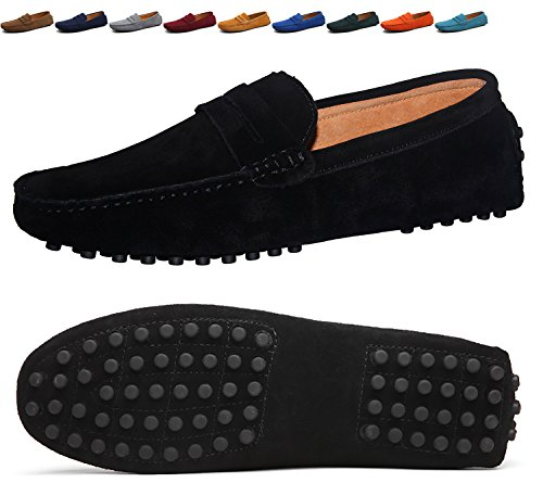 89681ff6d58 Go Tour Men s Penny Loafers Moccasin Driving Shoes Slip On Flats Boat Shoes